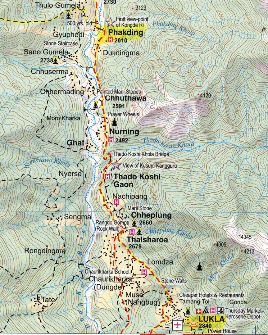 Nepal-Everest-Region-Trek-Day-01-Map-Lukla-To-Phakding