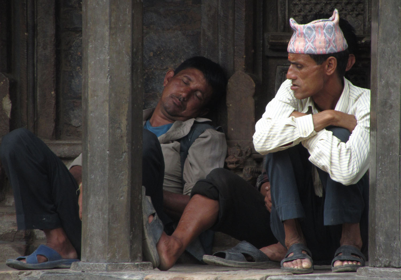 Nepal-Patan-Men-Resting