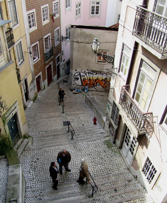 Portugal-Lisbon-Street-Scene-Steps