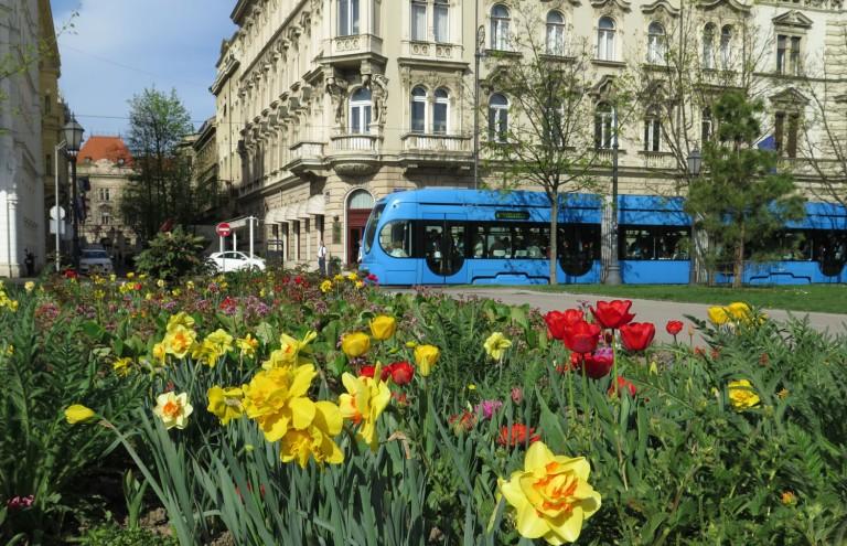 Croatia-Zagreb-Street-Scenes-Flowers-Tram-Hotel