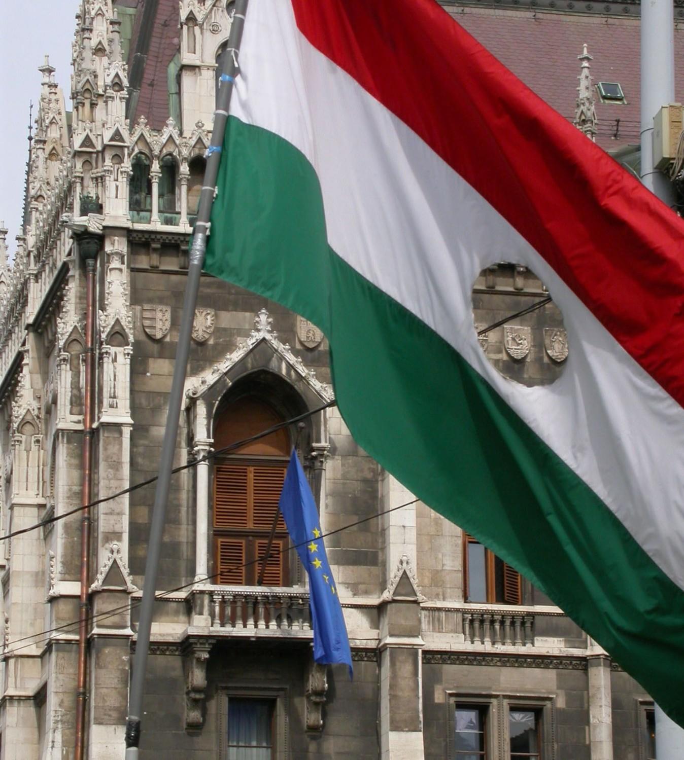 Hungary-Budapest-Parliament-1956-Flag