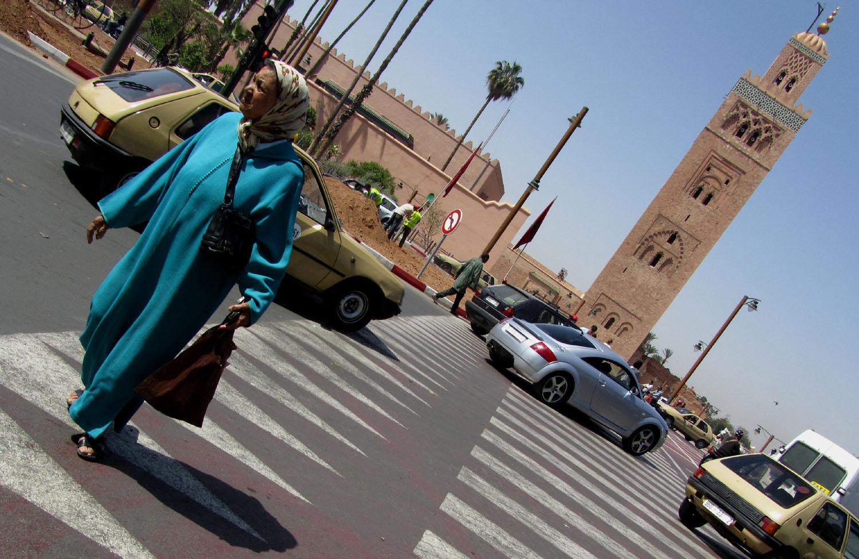 Morocco-Marrakech-Minaret-Lady