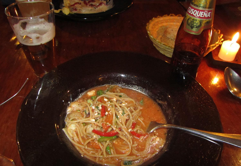Peru-Cusco-Food-And-Drink-Pasta-Cerveza