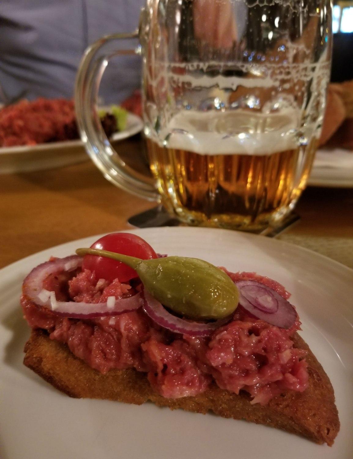 Czech-Republic-Prague-Beef-Tartare-Beer