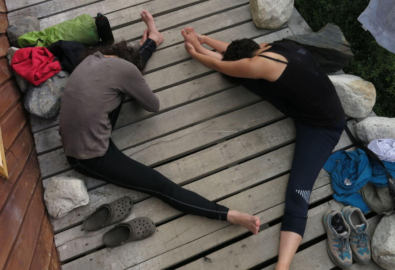 Patagonia-Paine-W-Trek-Day2-Lodge-Stretching