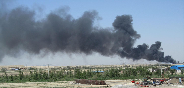 China-Turpan-Desert-Drive-Fire