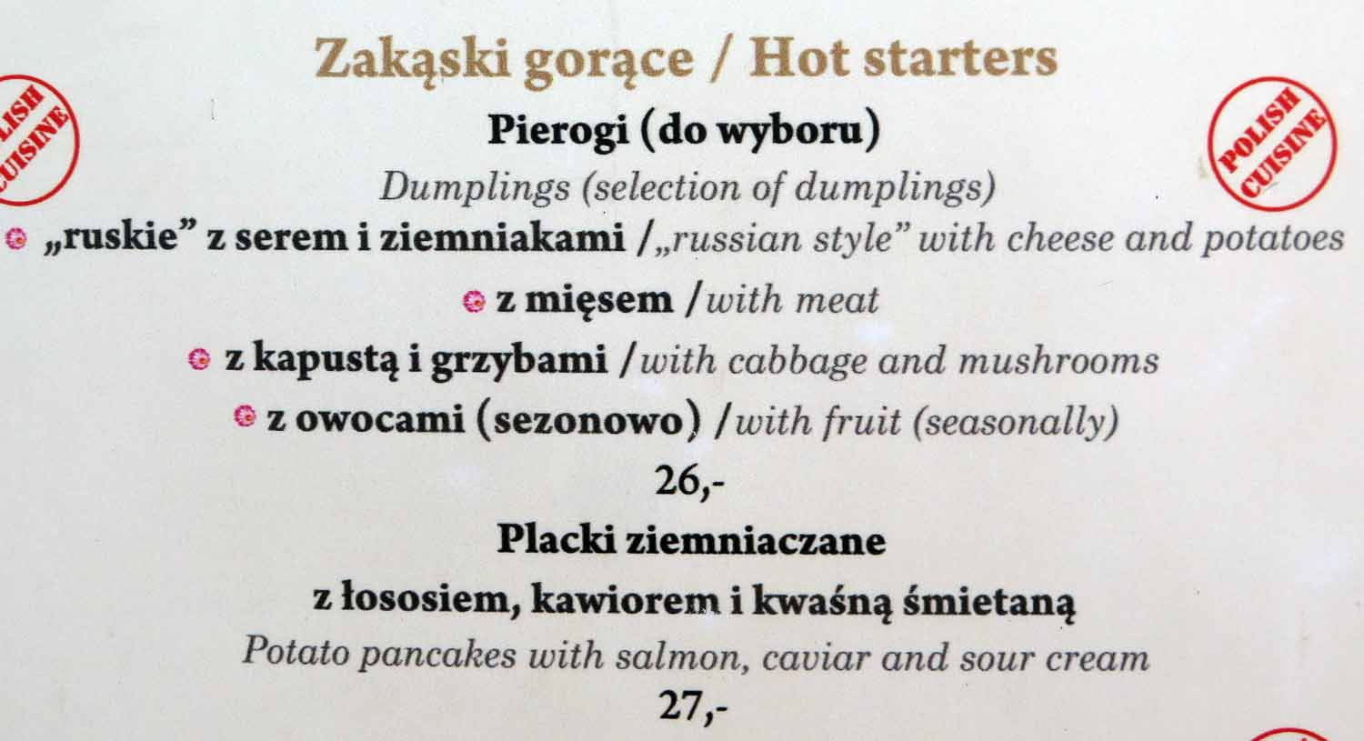 Poland-Warsaw-Menu