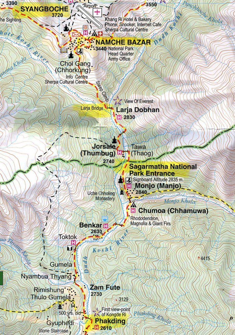 Nepal-Everest-Region-Trek-Day-08-Map-Namche-To-Phakding