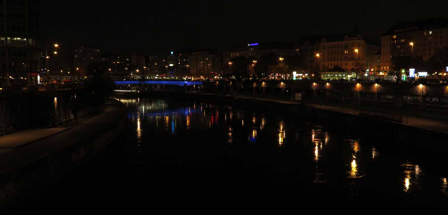 Austria-Vienna-Danube-At-Night