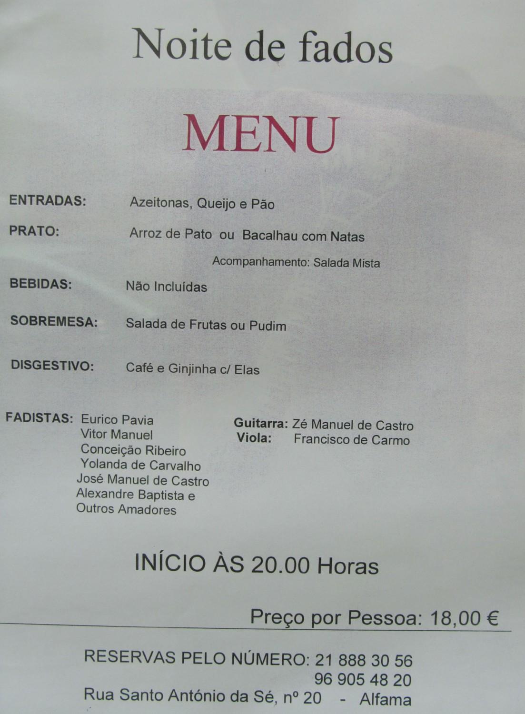 Portugal-Lisbon-Fado-Menu