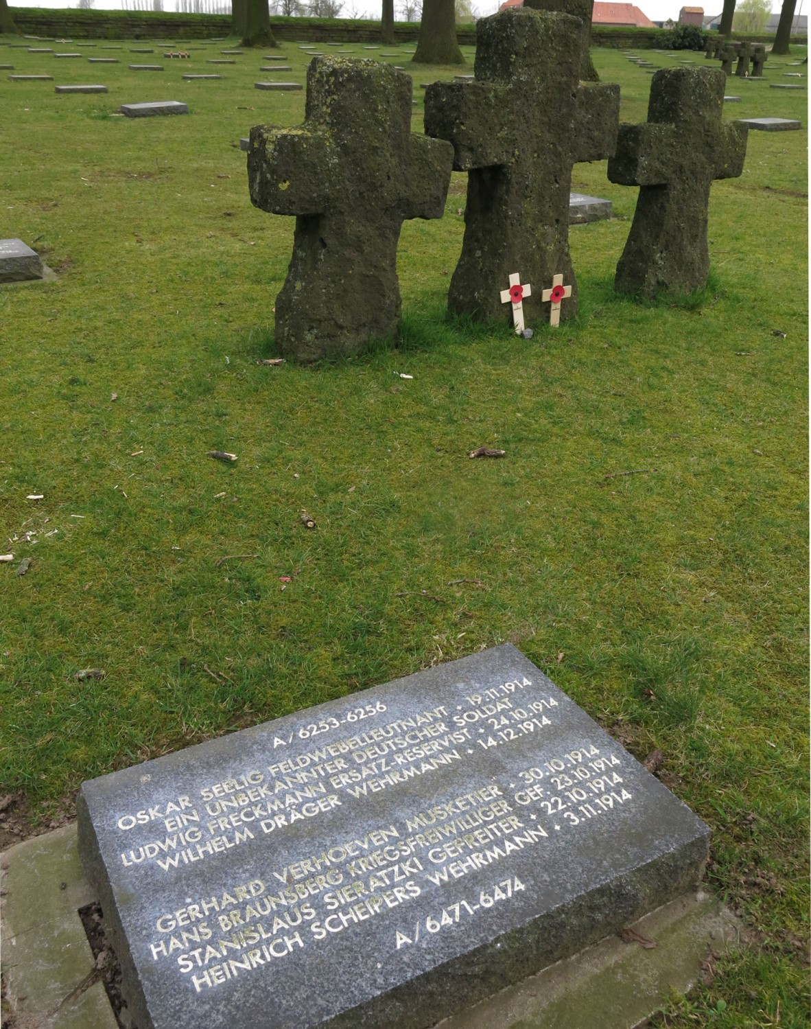 Belgium-Ypres-Langemark-Cemetery-Crosses