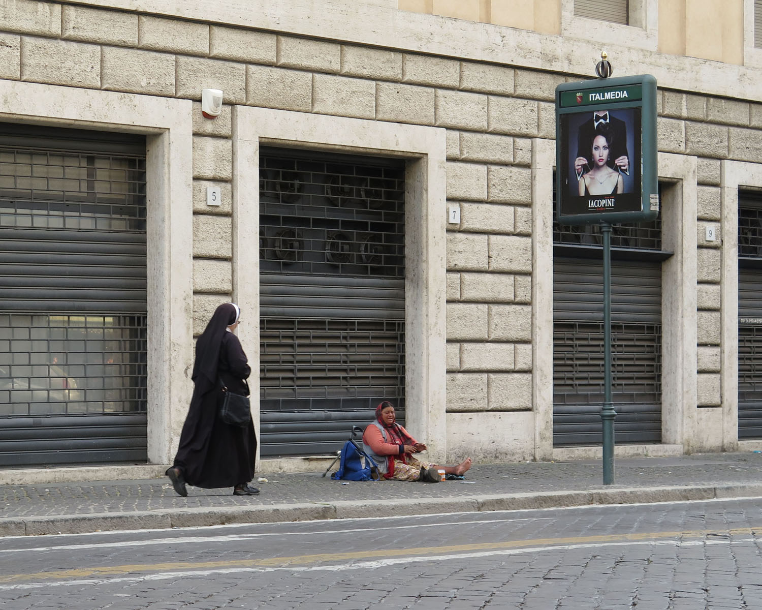 Italy-Rome-Street-Scenes-Nun-Begging-Woman