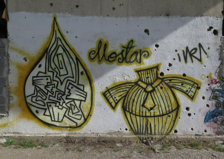 Bosnia-Mostar-Bullet-Holes-Graffiti