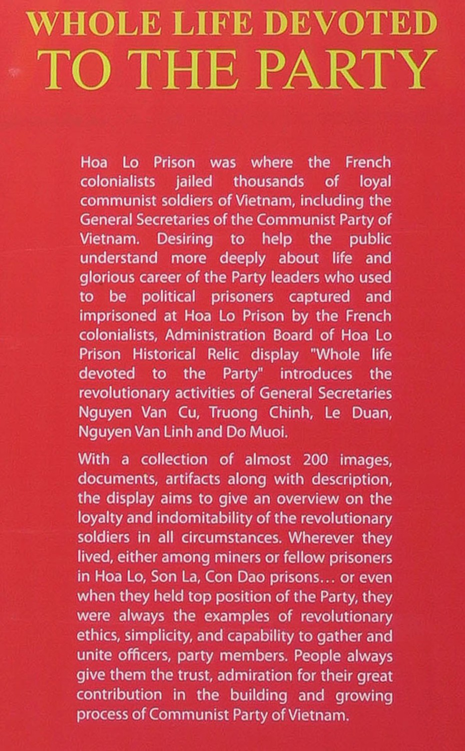Vietnam-Hanoi-Hoa-Lo-Prison-Party-Loyalty