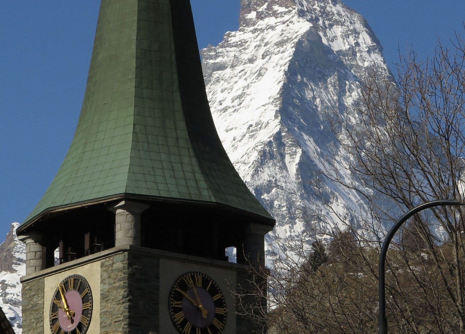 witzerland-Zermatt-Church-Steeple-And-Matternhorn