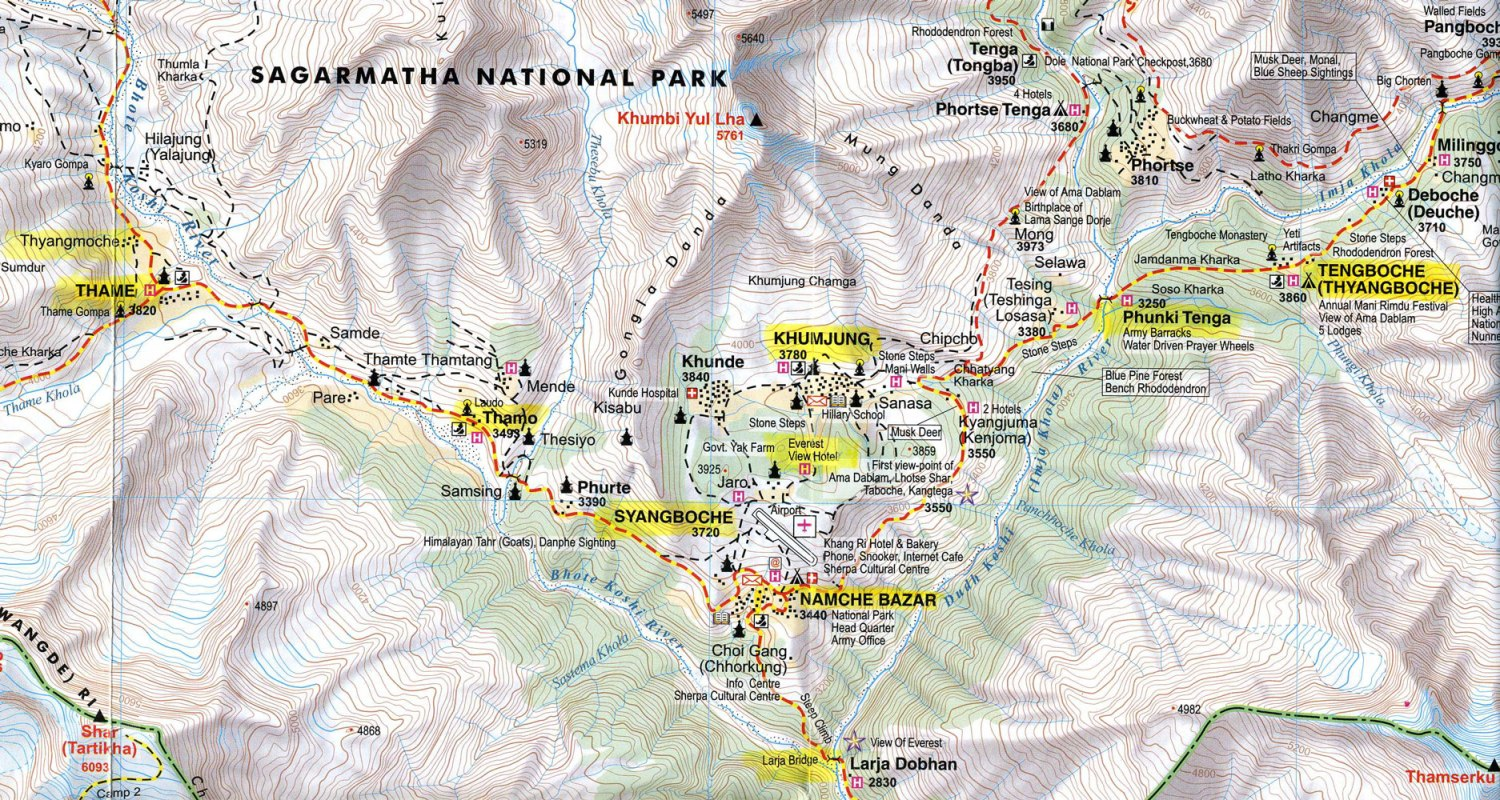 Nepal-Everest-Region-Trek-Day-05-Map-Tengboche-To-Khumjung