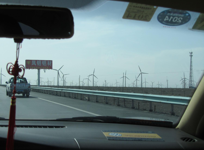 China-Turpan-Desert-Drive-Windfarms