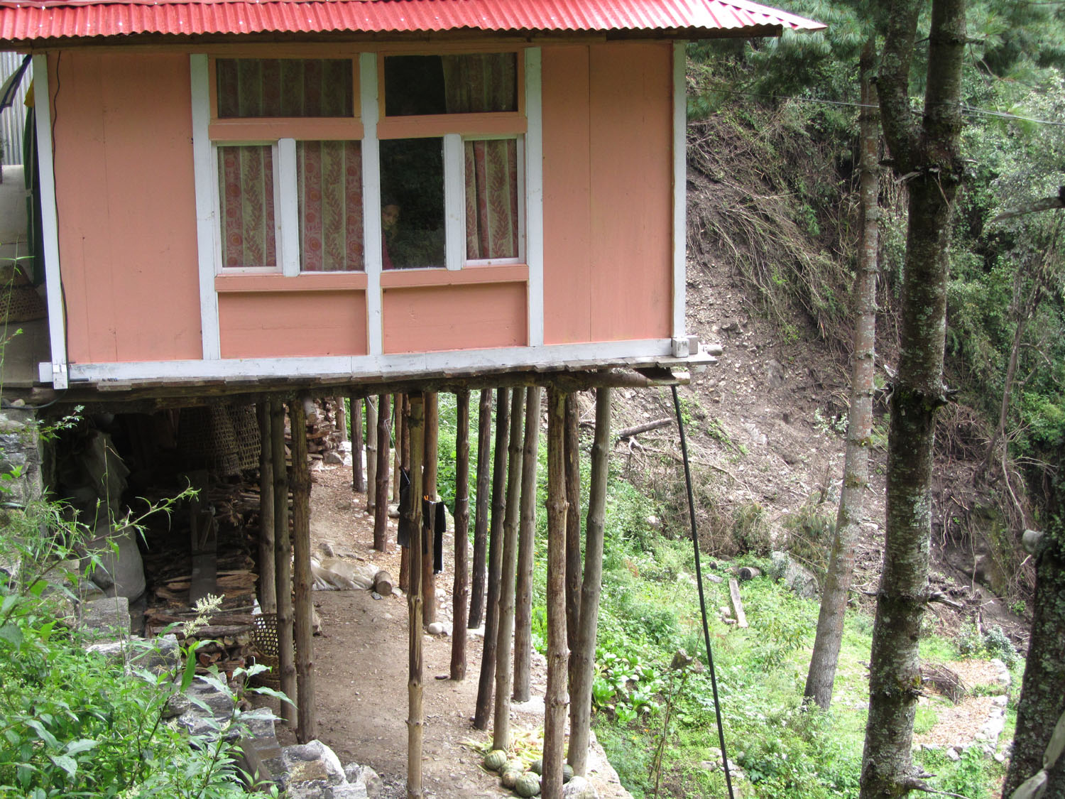Nepal-Everest-Region-Trek-Day-01-House-Stilts