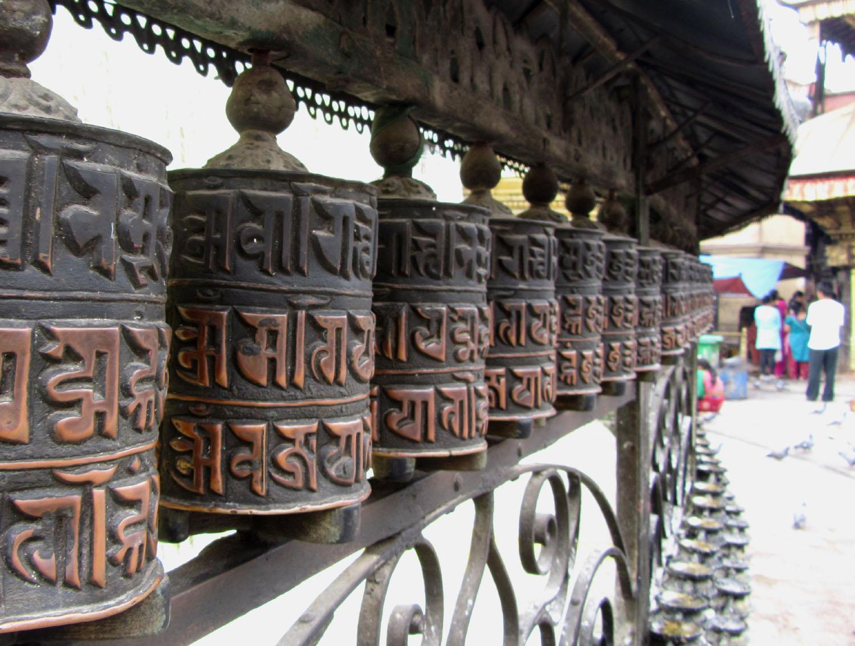 Nepal-Kathmandu-Monkey-Temple-Prayer-Wheels