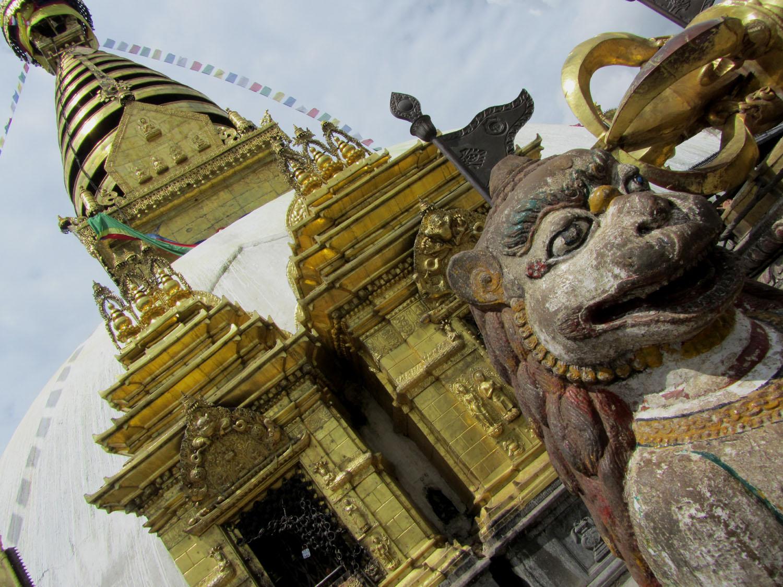 Nepal-Kathmandu-Monkey-Temple-Lion