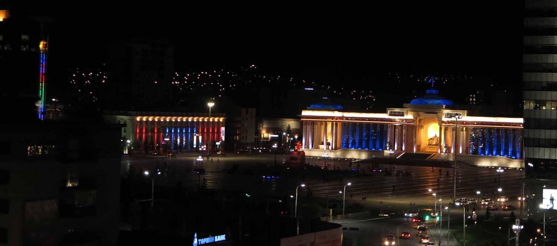 Mongolia-Ulanbator-Genghis-Square-Night
